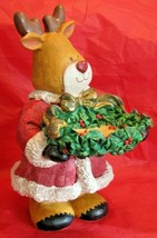 Santa Claus Reindeer Bowl Trinket Holder Resin Figurine With Garland & R... - $23.75