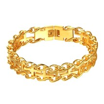 U7 New Hot Mens Bracelets Concentrated Cross Link Up Stainless Steel Gold Color  - $20.69