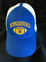 Panthers Football New Era Cap Blue Gold White Mesh Hat Stretch Fit M L Letter M - $19.79