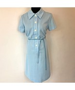 Vintage 1960s Light Blue Checked Faux Leather Shoelace Belt Dress size L... - $24.95