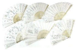6 WHITE WEDDING FABRIC LACE HELD HAND FANS novelty 9 inch fan BRIDE acce... - $11.72