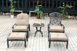 Cast aluminum outdoor conversation Elisabeth 5pc set patio chaise lounge... - $1,193.93