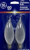 GE 60CA10/F/PM/2 60W Light Bulb Candelabra Base Bent Tip Incandescent Lot 2 Pcs - $9.95