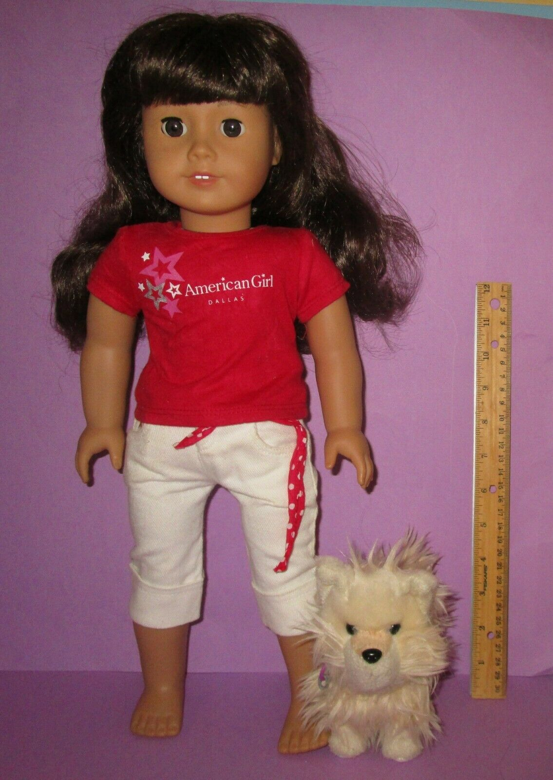 """American Girl 18"""" Truly Me Just Like You Doll #16 Dark Brunette w/ Puppy Dog"""