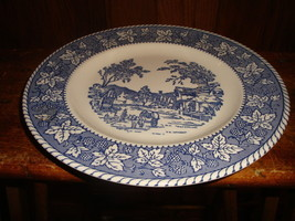 4 Homer Laughlin Shakespeare Country Dinner Plates Stratwood Blue & White - $22.44