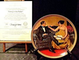 Flirting in The Parlor by Norman Rockwell Plate with Box ( Knowles ) AA20-CP2171 image 4