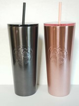 NWT Starbucks Rose Gold & Black Glitter Stainless Steel Venti 24 oz Tumbler - $91.74