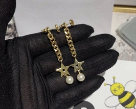 Authentic Christian Dior 2019 CC LOGO CHAIN STAR DANGLE TRIBALE EARRING  image 4