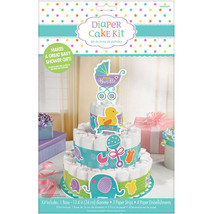 Baby Shower Diaper Cake Kit - Gender Reveal Diaper Cake; Unisex Baby Sho... - $11.87