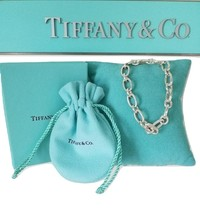 * Tiffany & Co. Sterling Silver Oval open Clasping Link Bracelet W/Box p... - $350.00