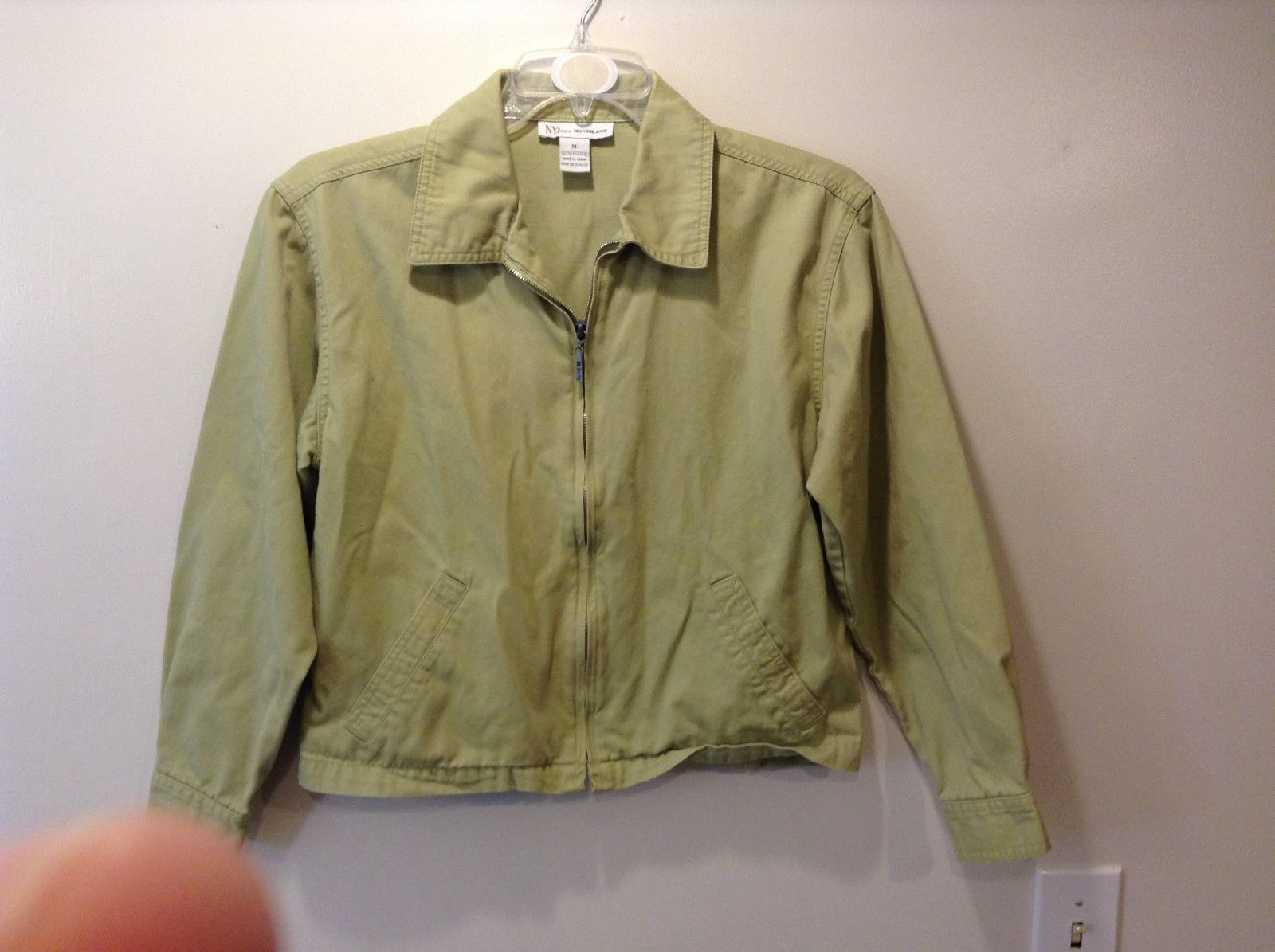 New York Jeans Med Weight Light Green Zip Up Jacket Sz M