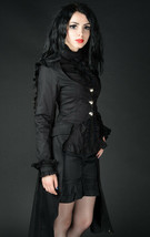 Black Victorian Gothic Corset Back Jacket Long Flared Flowing Steampunk ... - $71.53