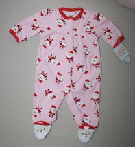 3 Month Carters Pink Fleece Christmas Sleeper Santa Claus Footed Just One You - $9.85