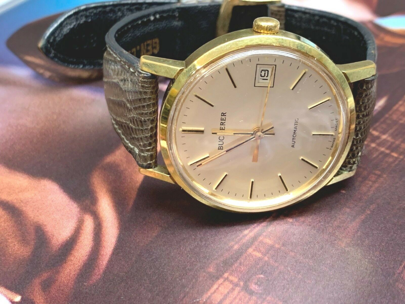 BUCHERER SWISS AUTOMATIC 25 JEWEL DATE COMPLETE SERVICED NICE WATCH image 2