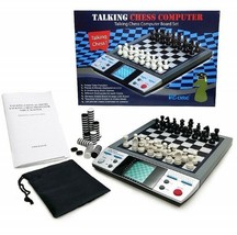 Electronic Travel Magnetic Talking Chess Checkers Board Games 8n1 Portab... - $128.20