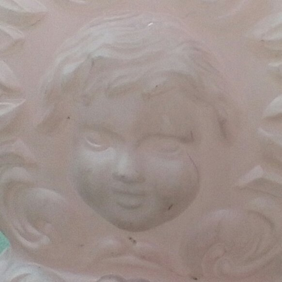 Primary image for Cherub (Baby Face) Glass Oil Lamp Base.  Pink Vintage GWTW Style Lamp Base.  G-3