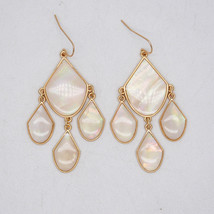 Premier Designs jewelry elegant gold tone hoop drop dangle earrings enamel - $36.00