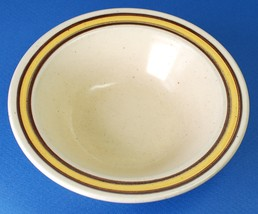 "Homer Laughlin Sahara 6.75"" Cereal Bowl w Yellow Band Brown Rings I-83 - $5.00"