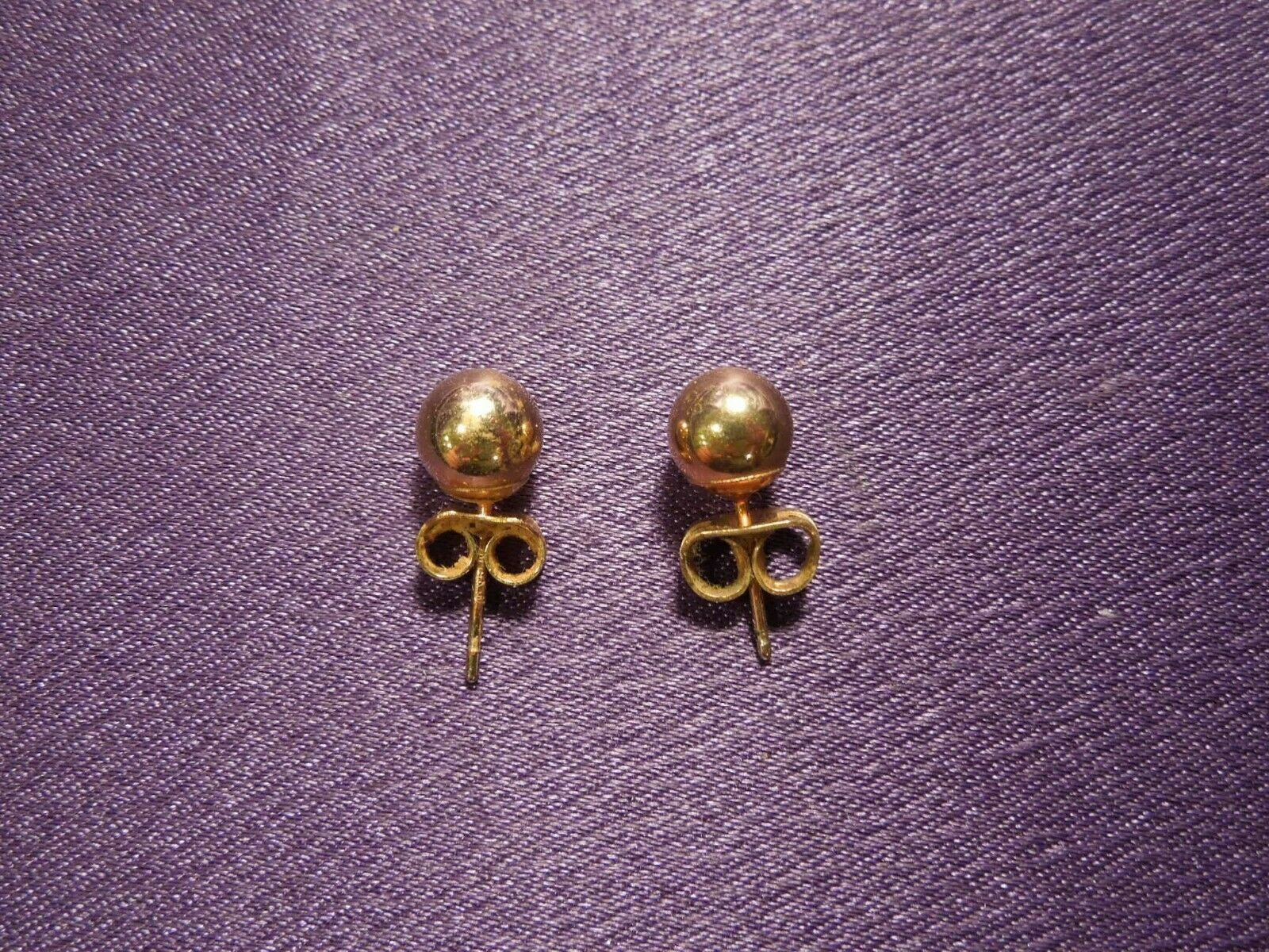 14K Gold Ball Stud Earring Pair image 2