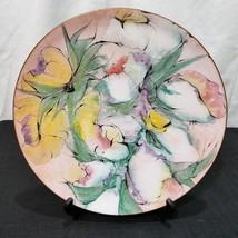 Vtg Lilyan Bachrach Enamel on Copper Floral Plate Bachrach Art Enamel 50... - $46.74