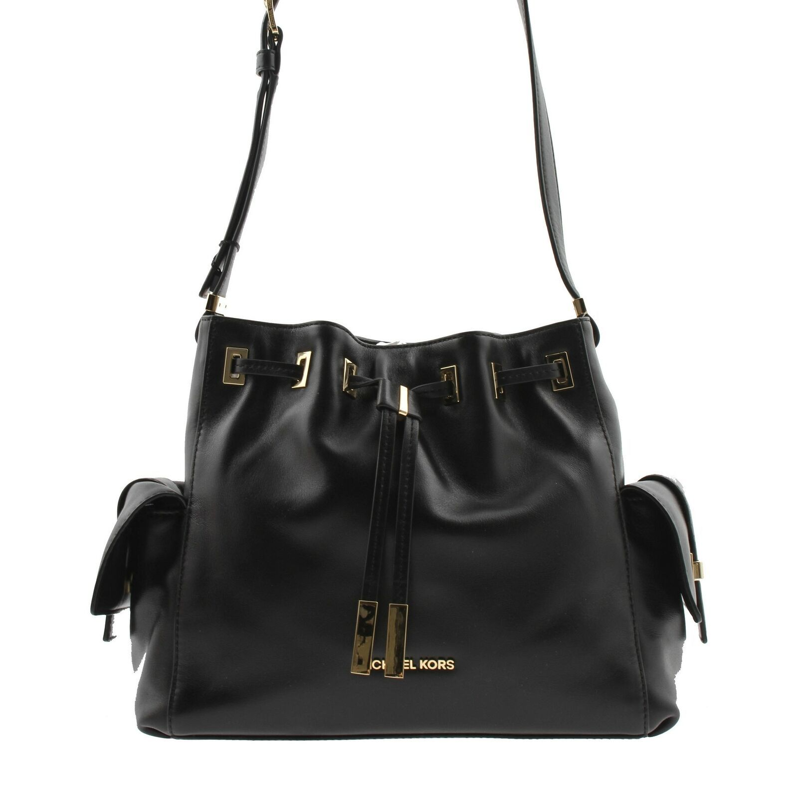 8eb221f1682f NWT Authentic Michael Kors Marly Medium Drawstring Black Crossbody  30T5GYMM2L - $277.20