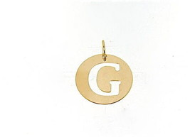 18K YELLOW GOLD LUSTER ROUND MEDAL WITH LETTER G MADE IN ITALY DIAMETER 0.5 IN image 1