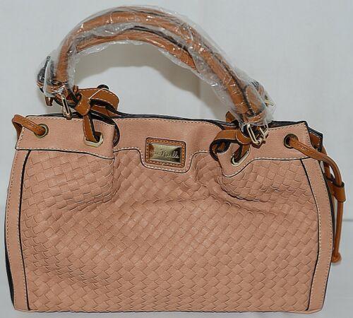 Simply Noelle Brand HB150 Apriocot Color Basket Weave Pattern Womens Purse
