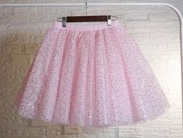 Women Girl Sparkle Tulle Skirt Mini Tulle Skirt A-line Red White Pink Gray image 5