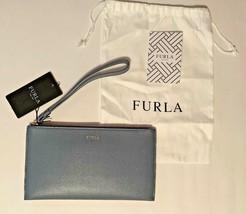 Furla Italy Genuine Texture Leather Wallet Wristlet Clutch Envelop Grey ... - $83.22