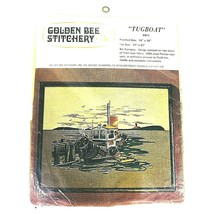 Vintage 1976 Embroidery Kit Tugboat Golden Bee Stitchery Picture Pier Li... - $23.71