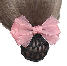 Elegant Fashion Hair Net Bowknot Hair Clips Spring Clip 2 pieces, PINK - $17.17
