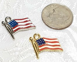 RED, WHITE, BLUE AMERICAN FLAG FINE PEWTER PENDANT CHARM - 14x14x2mm image 2