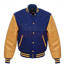 Varsity Royal Blue Letterman Men Wool Jacket with yellow Real Leather Sl... - $84.00