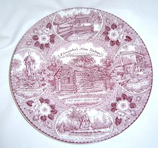 VTG Lincoln's New Salem Illinois Stafforshire Ware England Red Collector... - $22.99