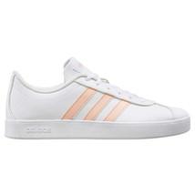 NEW Adidas Kids Girls White Pink VL Court 2.0 Skateboard Tennis Gym Shoes EE6901 image 2