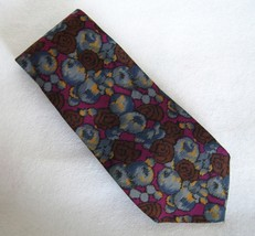 Andrea Fezza Neck Tie 100% Silk Floral Abstract Menswear Blue Burgundy B... - $24.00