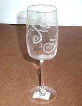 Lenox Spyro Crystal Wine Glass Etched Swirl & Dot New No Box - $19.90