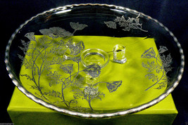 VINTAGE SILVER CITY FLANDERS FLOWERS ON CLEAR GLASS FOTTED BOWL PLATE - $22.97