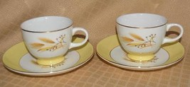 Autumn Gold by Century Service 2 cups & 2 saucers wheat USA retro - $8.72