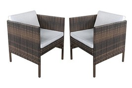 Y&K Decor 2 Set Outdoor Wicker Chair All-Weather Patio Dining Arm Chairs... - $305.93