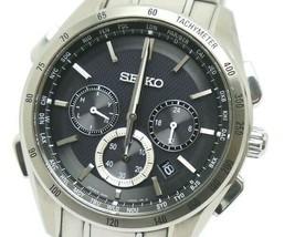 SEIKO Brightz Chronograph Black Radio Wave Solar 8B92-0AB0 42mm Watch SN-59**** - $533.00
