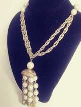 Vintage Signed CORO Gold Tone Faux Pearl Drop Dangle Pendant Necklace - $38.00