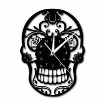 Skull Wall Clock Floral Candy Rock Decor Reloj De Pared Con Forma De Cal... - $43.54