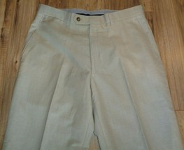 Hart Schaffner Marx Size 34 Regular CHICAGO Tan Wool New Mens Flat Front... - $148.50