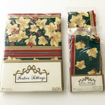 VTG 1995 Avon Home Holiday Table Cloth & 8 Napkins 8406 Yuletide Stripes... - $37.03