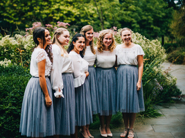 GRAY Tulle Midi Skirt High Waisted Bridesmaid Tulle Skirt Plus Size Gray Wedding