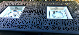 Patio dining table with built in fire pit 9 piece set outdoor furniture. image 4