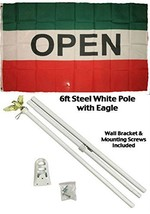 ALBATROS 3 ft x 5 ft Advertising Open Red White Green Flag White with Po... - $56.29