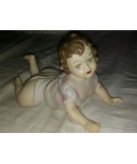 """Vintage 8.5"""" Bisque Porcelain BABY laying down German Heubach? unknown. - $39.59"""