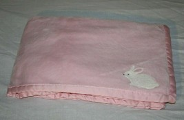 Carters Pink White Bunny Rabbit Baby Blanket Little Basics Cozy Soft Sat... - $23.07